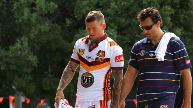 Back in town … Todd Carney with Country Origin coach Laurie Daley at Kippax Park yesterday. Carney, now with the ...