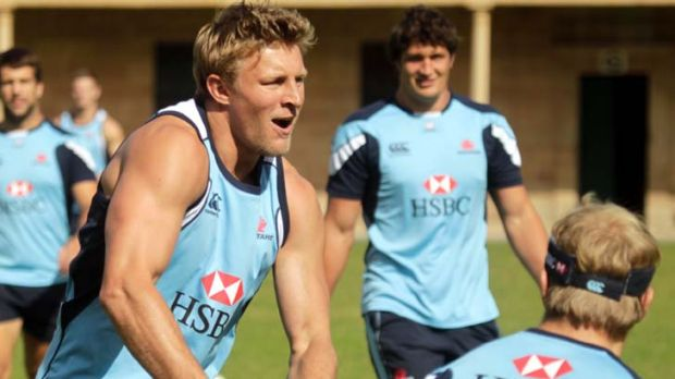 Intensity ... Lachie Turner gets ready to pass at Waratahs training at Victoria Barracks yesterday.