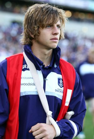 After the siren ... Nathan Fyfe at last week's match between the Fremantle and Brisbane.