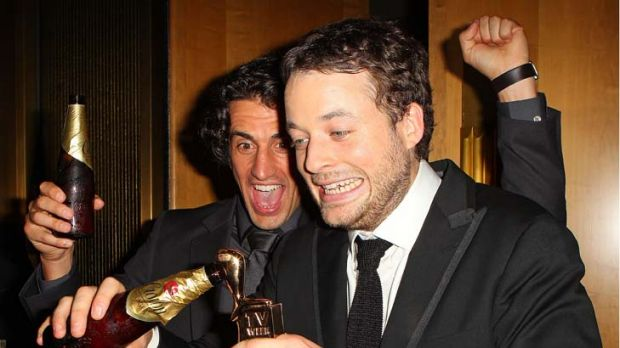 Celebrations ... Hamish Blake, right, and Andy Lee.