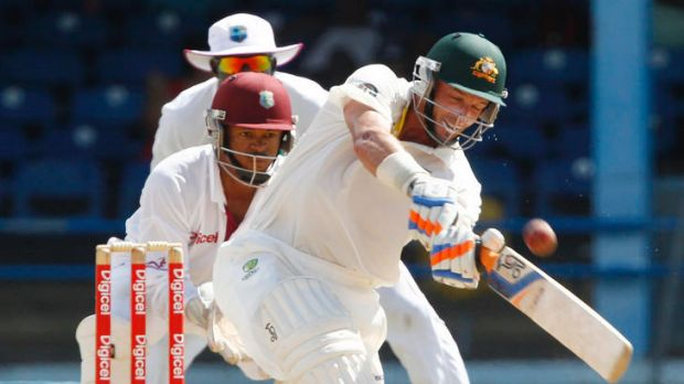 Mike Hussey ...  on the way to his highest score in the Caribbean.