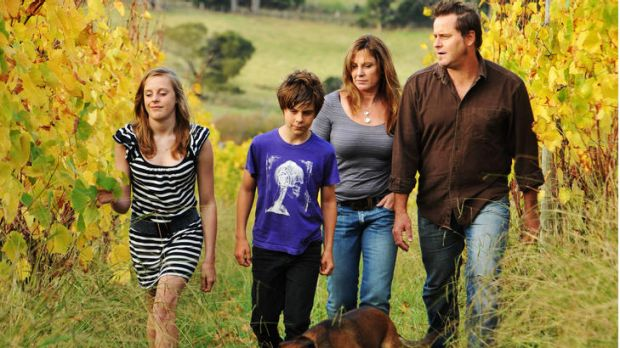 Activist runs on the board ... Peter Whish-Wilson with his family, Bronte, 13, Finn, 11, and Natalie at their property ...