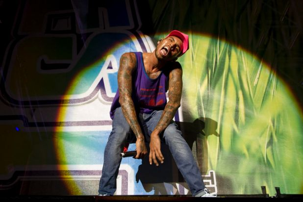 Chris Brown plays at Supafest at ANZ Stadium.