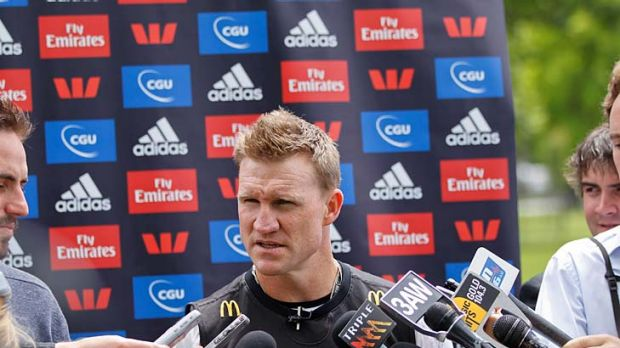 Nathan Buckley talking to the media after hsi first full squad Collingwood training session, 21th November 2011.