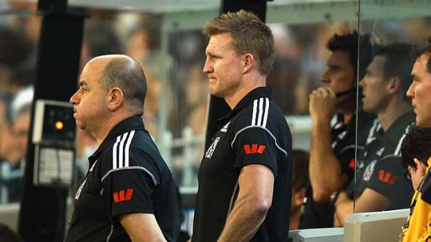 Tough start: Nathan Buckley hasn't dodged the fallout from Collingwood's disappointing loss to Carlton last Friday.