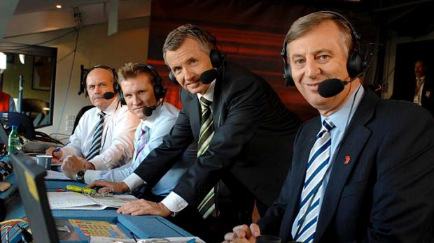 Nathan Buckley the Channel Seven commentator, withLeigh Matthews, Bruce McAveny and Denis Cometti.