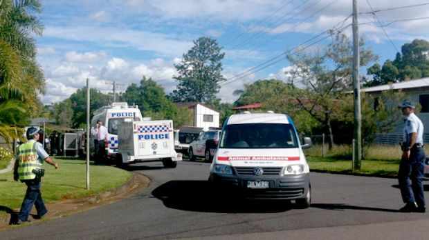 Police at the scene of a fatal shooting in Bracken Ridge.