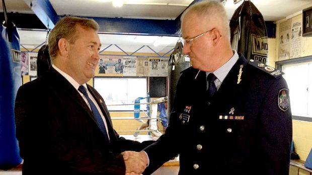 New police minister Jack Dempsey meets with police commissioner Bob Atkinson at the Fortitude Valley PCYC.