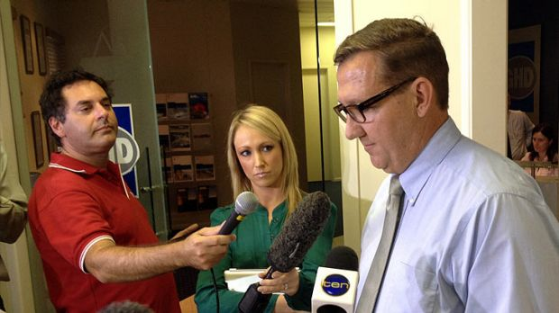 Former police minister David Gibson fronts media in Gympie yesterday.