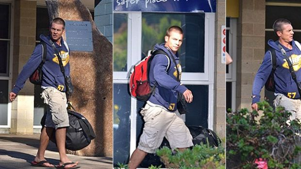 Ben Cousins at the Esperance police station where we was charged with drug posession last month. Photos: Esperance Express