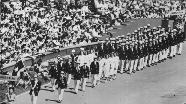 March of history ... the Australian contingent at the opening ceremony of the 1948 London Olympics at Wembley Stadium.