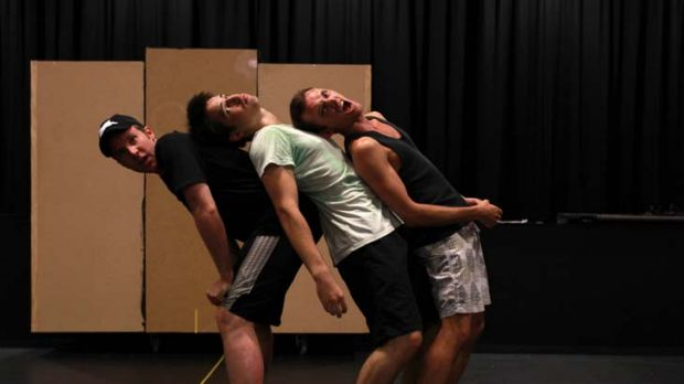 Barrel of fun … Karl, Gideon and Mark, of Monkey Baa Theatre, rehearse for The Bugalugs Bum Thief, to be staged at ...
