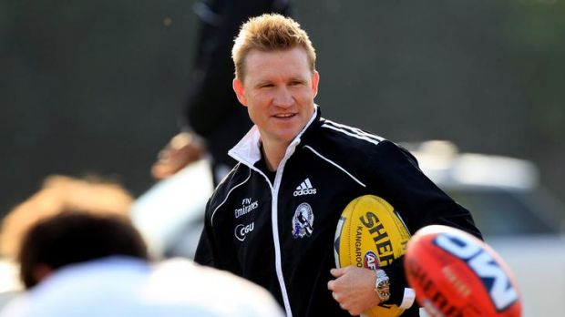 Magpies coach Nathan Buckley during the Collingwood training session at the St Kilda Sea Baths yesterday.