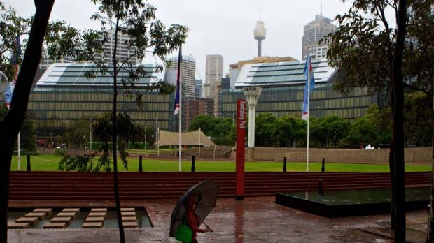 Green space ... apartment buildings could replace the existing park areas in Darling Harbour.