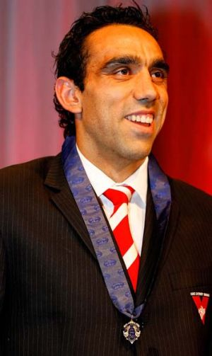 Out of contention ... Adam Goodes at the Sydney Swans Brownlow Medal dinner in 2006.