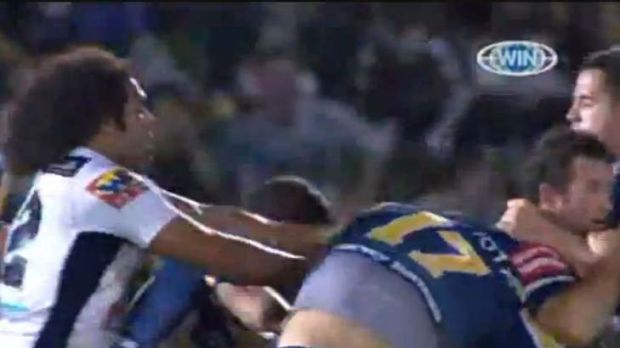 Clash-back … James Tamou and Sam Thaiday tangle in 2010.