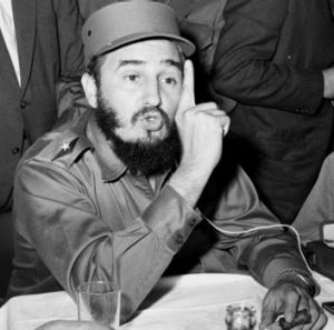 Cuban leader Fidel Castro talks to reporters in New York on September 19, 1960.