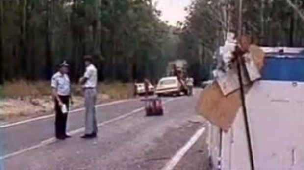 A screen shot of the  truck crash in 1980.