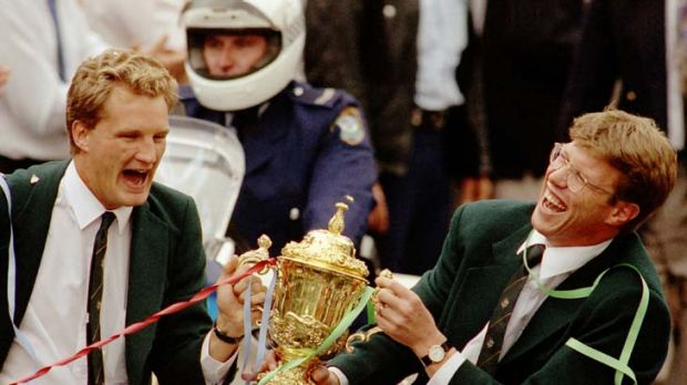 Glory days ... Michael Lynagh and and Nick Farr-Jones share a laugh during the ticketape parade after winning the 1991 ...