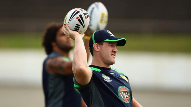 Paul Gallen of the Kangaroos warms up during the Australian Kangaroos training session at Western Springs Stadium in ...
