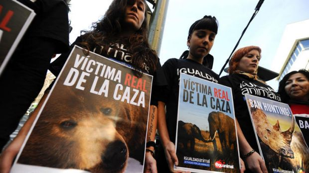 """Animal activists stage a protest holding placards displaying pictures of animals and reading """"Ban Hunting"""" in Madrid."""