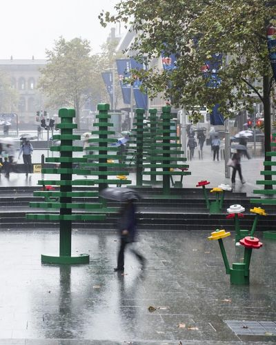 Sydneysiders walk through a LEGO forest at Martin Place. Photographed by Dominic Loneragan.