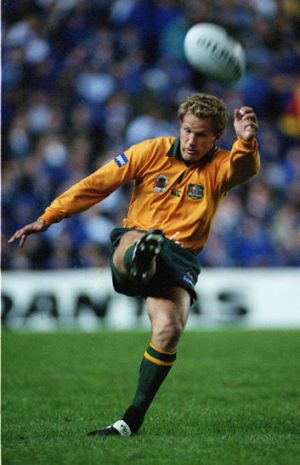 Michael Lynagh in action for Australia against Argentina.