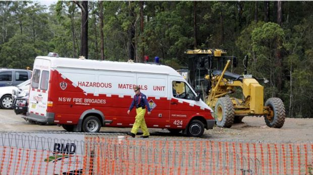 No radioactive material ... a hazmat team at the site, near Port Macquarie, where five road workers fell sick earlier ...