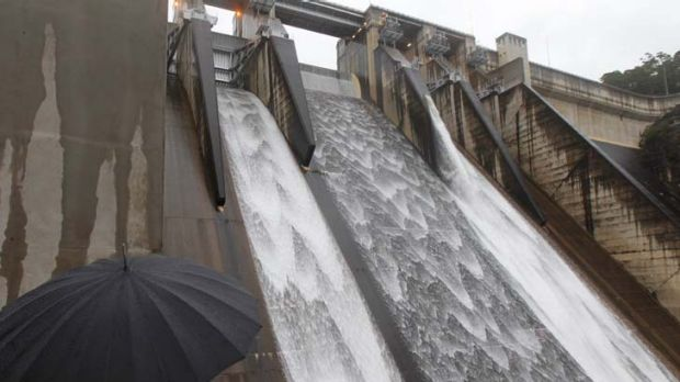 Wet, wet, wet ... the Warragamba dam, which overflowed for the first time in 14 years in March, is set to spill again ...