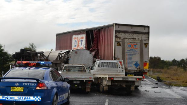 Two utes were also involved in the five-vehicle pile-up.