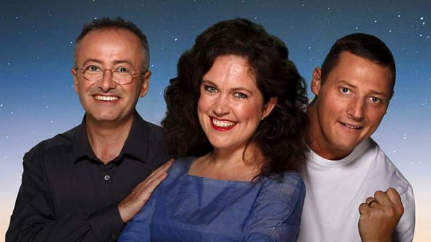 Speech therapy ... host Andrew Denton with contestants Annabel Crabb and Merrick Watts.