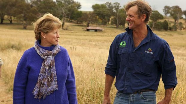 Meet and greet ... Milne speaks with grazier Scott Hickman at Marylebone farm in Cudal, near Orange.
