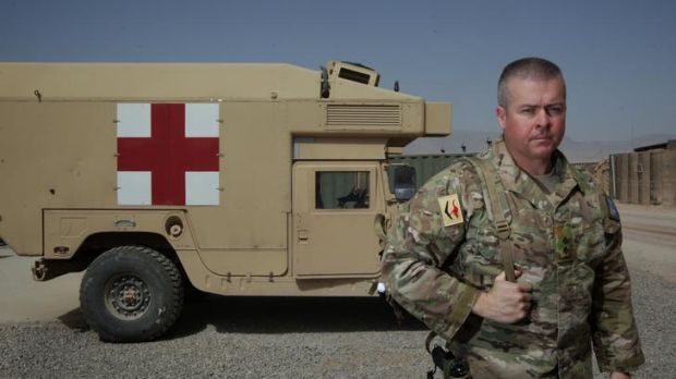 Lieutenant Clint Grose, Regimental Nursing Officer with the Role 2 medical facility in Tarin Kowt, Afghanistan on 23 ...