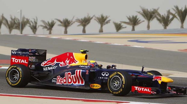 Track dash: Australia's Mark Webber in his Red Bull during practice on Friday at the Manama circuit.