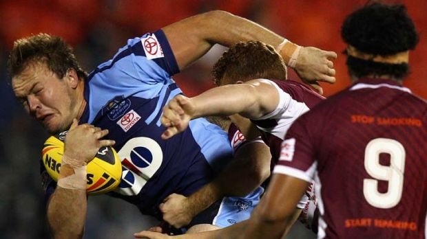 Power pack … NSW prop Matt Groat makes a charge.