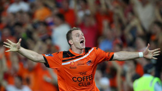 Besart Berisha celebrates his winning goal.