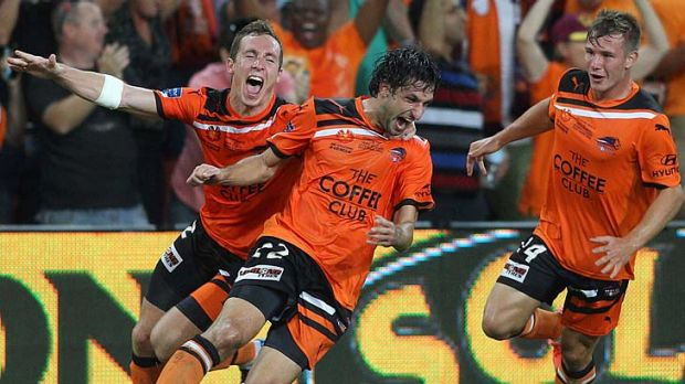 Premiers: Thomas Broich, Matthew Smith and Nick Fitzgerald celebrate one of Besart Berisha's goals.