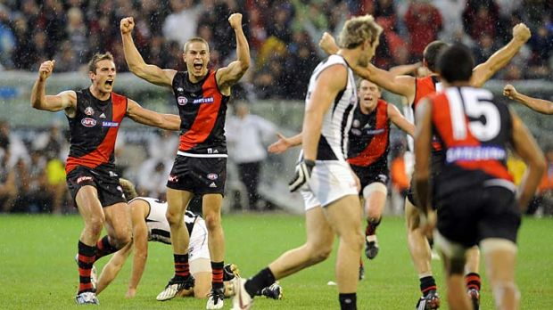 David Zaharakis celebrates his first goal in AFL that gave the Bombers victory on Anzac Day 2009, the team's last win ...