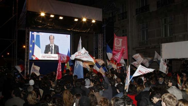 First round ... Supporters of Francois Hollande, Socialist Party candidate for the 2012 French presidential election, ...