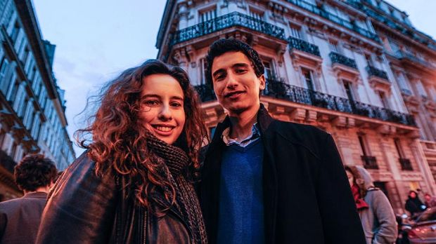 Deborah Asserat and Lucien Dalarun outside the Socialists Party headquarters in Paris.