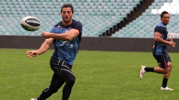 Forgotten man … Anthony Minichiello trains with the Roosters yesterday. The veteran played at fullback for NSW ...