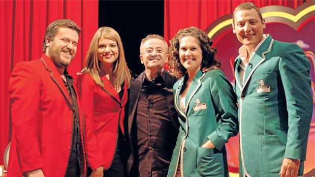 Andrew Denton (centre) says while <i>Randling</i> is a highly competitive game show, it's not about abiding by the ...