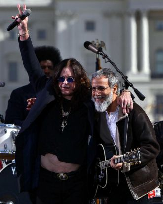 Musicians Ozzy Osborne (left) and Yusuf (also known as Cat Stevens) perform at the Rally To Restore Sanity And/Or Fear ...