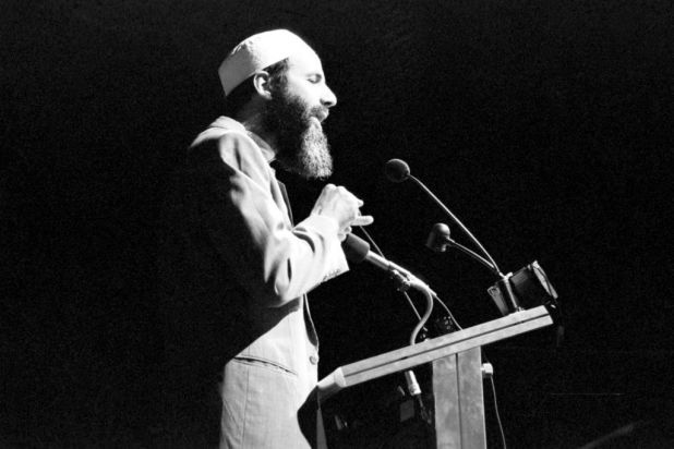 Yusuf Islam gives a speech at the Darling Harbour Convention Centre, Sydney, 16 February 1992. Photo by Ben Rushton