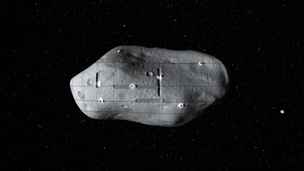A conceptual rendering of several small robotic spacecraft mining a near-Earth asteroid.