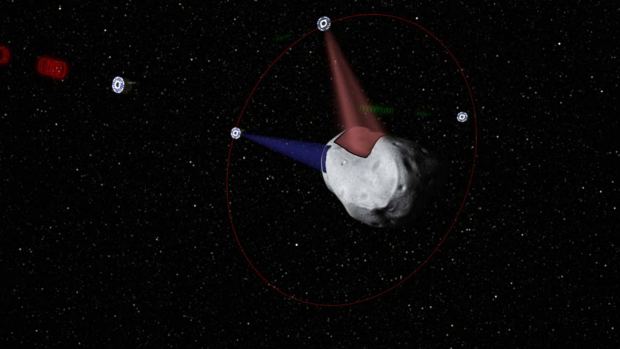 A conceptual rendering of satellites prospecting a water-rich, near-Earth asteroid.