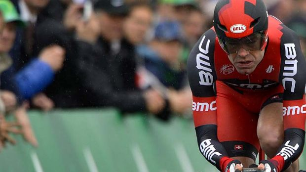 Off the pace ... Cadel Evans.