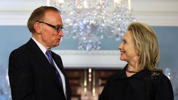 Where Rudd left off ... US Secretary of State Hillary Clinton shakes hands with the Minister for Foreign Affairs, Bob ...