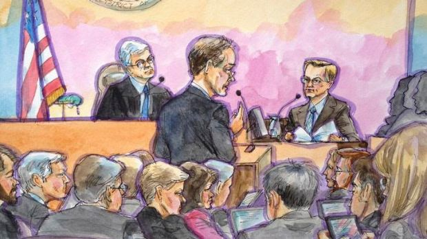 Eric Schmidt (R) in a court sketch being questioned by Oracle lawyer David Boies as US District Judge William Alsup (L) ...