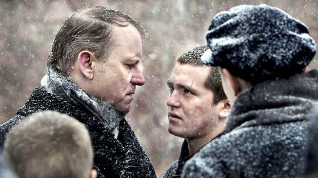 Facing revolt … the governor (Stellan Skarsgard) meets C-19 (Benjamin Helstad).